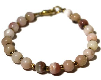 Peruvian Pink Opal Gemstone Beaded Bracelet with 14kt overlay round beads and Secure Lobster Clasp Gift for her