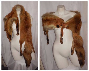 Vintage Fox Fur Stole 1930s Full Body Red Fox Stole Face Head Glamour Flapper Art Deco Fur Wrap 58 inches missing lining
