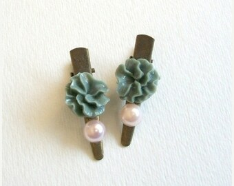 SUMMER SALE SAMPLE Sale Hair Clips Set of Two Grey Flower and Pink Faux Pearl Antique Bronze Clips for Formal Bridal Party Wedding