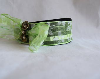Green bow headband