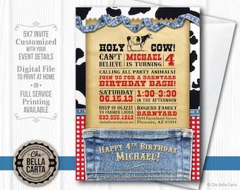 Western Cowboy or Cowgirl Barnyard Denim and Gingham Printable Customized Invite