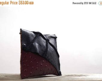 ON SALE Twisted Leather Clutch -  Women's Leather Clutch - Leather Clutches - OOAK Leather Clutch - Burgundy Leather Clutch