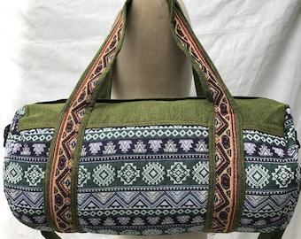 Tribal Cotton Duffle Bag, Gym Bag, Weekender Bag