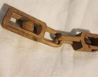 Handcarved Wooden Interlocking Pieces, Folk Art, Primitive