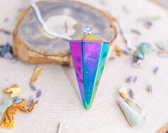 Rainbow Titanium Aura Gemstone Pendulum for Divination and Scrying