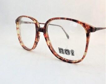 Big Preppy Glasses, Amber Brown Tortoise Shell Eyeglasses, Vintage 1980s Glasses, Womens Eyewear, Brown Glasses, New Old Stock Frames