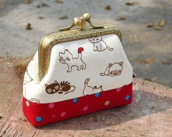 Coin purse two compartment / Cat coin purse
