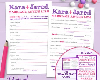 Personalized Marriage Advice Wedding Madlib Guest Book Alternative - Printable Or Printed [#210]
