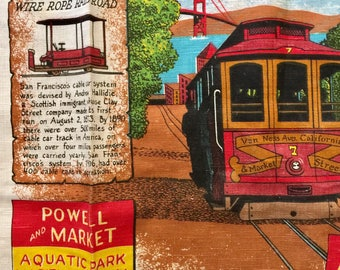 """Vintage Kay Dee Tea Towel """"Hyde & Powell"""" Streets Cable Cars"""