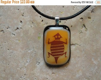 Christmas in July Sale Lizard Pendant -Fused Glass Southwestern Design - BHS01285