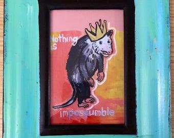 Framed opossum postcard