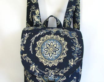 Small backpack- Indigo blue floral medallion canvas