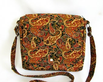 Large messenger bag- Paisley cotton