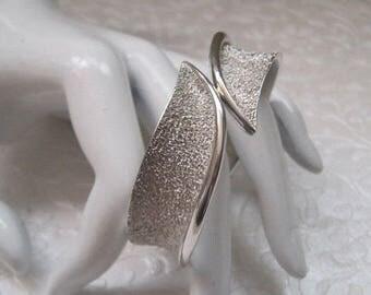 Silver Clamper Bracelet, Marked TRIFARI, Cuff Bracelet, Vintage Jewelry