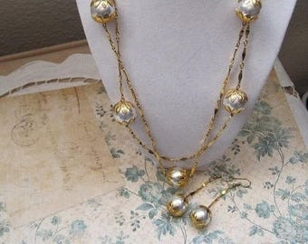 Pearl Necklace And Earring Set, Long Necklace, Vintage Jewelry Set