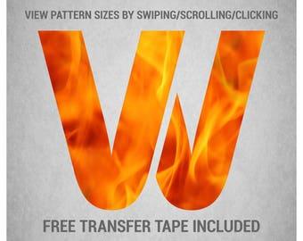 Heat Transfer Vinyl (HTV) - Fire Flames (Orange) - Custom Printed Pattern