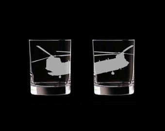 CH-47 Chinook Helicopter Set of 2 Scotch Whiskey Glasses US Army Helicopter