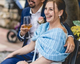 Something Blue Bridal Lace Bolero Wedding Shrug hand crocheted for Chilly Summer Weddings