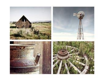 Modern Rustic Print Set, Wall Art, Farmhouse Chic, Country Decor, Farm Decor, Blue & Green