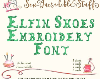 Elfin Shoes Embroidery Font in 3 sizes