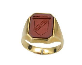Carnelian Seal Ring; Seal Ring; Emblem Ring; Crest Ring; Signet Ring