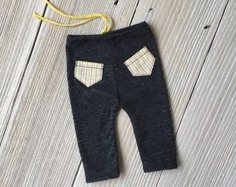 Newborn Gray and Yellow Pocket Pants, Newborn Boy Photo Prop Pants - Ready to Ship
