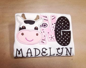Cow 1st Birthday - Made to Order - Pink and Black Farm First Birthday Appliqué Shirt - Multiple Size Options, Bodysuit