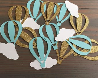 50 hot air balloon & cloud confetti, gold glitter, robin's egg, mint, baby shower, birthday party, party decorations, up and away