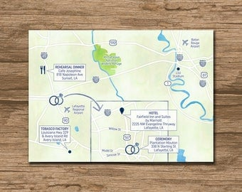 Custom Wedding Map, Event Map, Directions, Locations - PRINTABLE file - Enclosure Card, Insert with a map, Itinerary map - digi watercolors