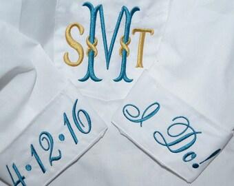 Infinity Design, Bridal Shirts, Monogram Bride Shirts, Wedding Day Shirts, Monogram Button Down Shirts, Monogram Wedding Shirts