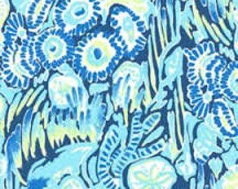INDIGO SUNSET SWIM   cotton dobby  18 X 18 inches  ~ Authentic Lilly Pulitzer fabrics~