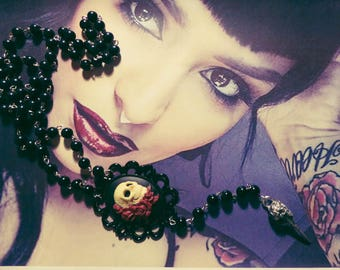 "Black cameo Rosary chaplet rose Calavera Skull ""Gothika"""