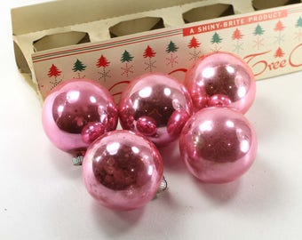 5 Light Pink Shiny Brite Christmas Ornaments in Original Box Vintage