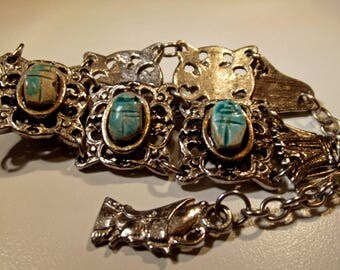 Bracelet Wrist or Ankle Vintage Pottery Scarab Beetle Silver and aqua colors Exotic Ethnic Interesting