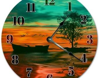 "10.5"" BOAT at the DECK Clock - Living Room Clock - Large 10.5"" Wall Clock - Home Décor Clock - 5126"