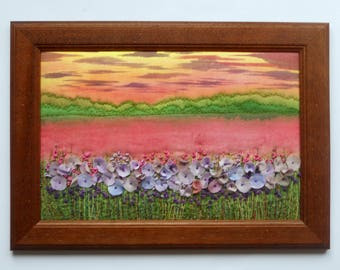Fiber art Wall hanging embroidered picture Framed textile painting