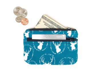 Cute Coin Purse  -  Card Wallet - Id holder -- Teal Deer 2 Zipper Change Purse Pouch - Small Wallet -  small Coin Pouch