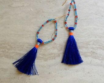 Navy Tassel Loop Beaded Earring  Midnight Blue Tassle Earrings Glass Seed Bead Loop