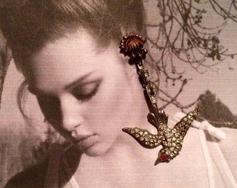 1stDayofSummerSALE Antique Bridal Bird Earrings 20 30 Art Deco Paste Rhinestone Dangles