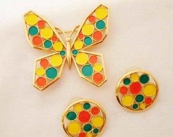 ON SALE Vintage 1960's Crown Trifari Butterfly Brooch & Pierced Earring Set, Modern Mosaic's Collection, Orange, Yellow, Green Polka Dot, Go