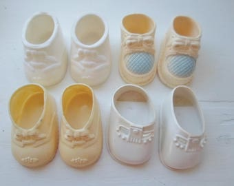Vintage Baby Doll Shoes, 4 Pairs, Bootie Style, 1 Dolshoe, 3 Unmarked, White, Baby Doll Booties, Soft Plastic Doll Shoes, Baby Dolls, Dolls