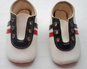 Vintage Baby Or Doll Shoe, Red, White & Blue, Lace Up Closure, Leather Soles, Infant Shoe, Newborn Shoe, Doll Shoe, Doll Supplies, Baby