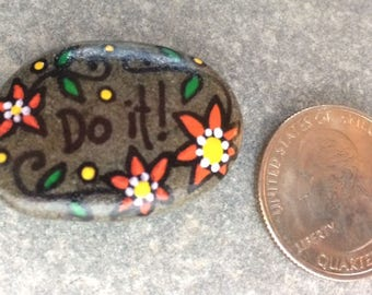 New!  Tiny Happy Rock - Do it! - Hand-Painted Beach River Rock Stone - orange sunflower daisy now today
