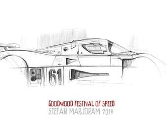 Sauber C7 Racing Car - Original A3 Pencil Sketch