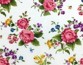 Roses and Daffodil Fabric - Baltimore Sprints -  Cotton Fabric - Red Rooster Fabrics -  FL-17