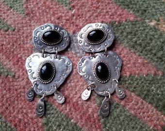 Vintage Sterling Mexican Onyx Chandelier Earrings
