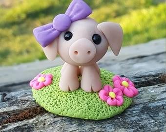 Polymer clay mini pig
