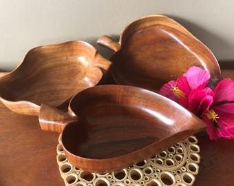Three beautiful Koa pupu bowls. Blair Honolulu Koa wood.