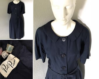 HOLD... Vintage 50s dress bombshell pinup navy dress Paula Parnes secretary dress Marilyn Monroe