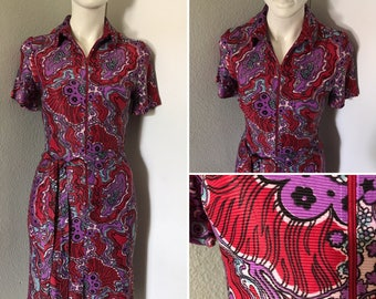HOLD... Vintage dress 60s style retro clothing disco costume psychedelic print vibrant colors hippie dress boho festival wear